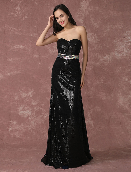 Milanoo Black Evening Dress Sequin Strapless Party Dress Mermaid Beading Occasion Dress