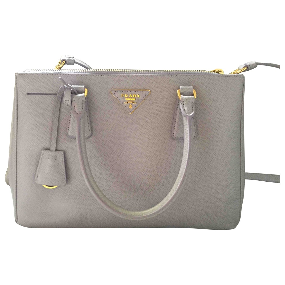 Prada saffiano  Handtasche in  Grau Leder