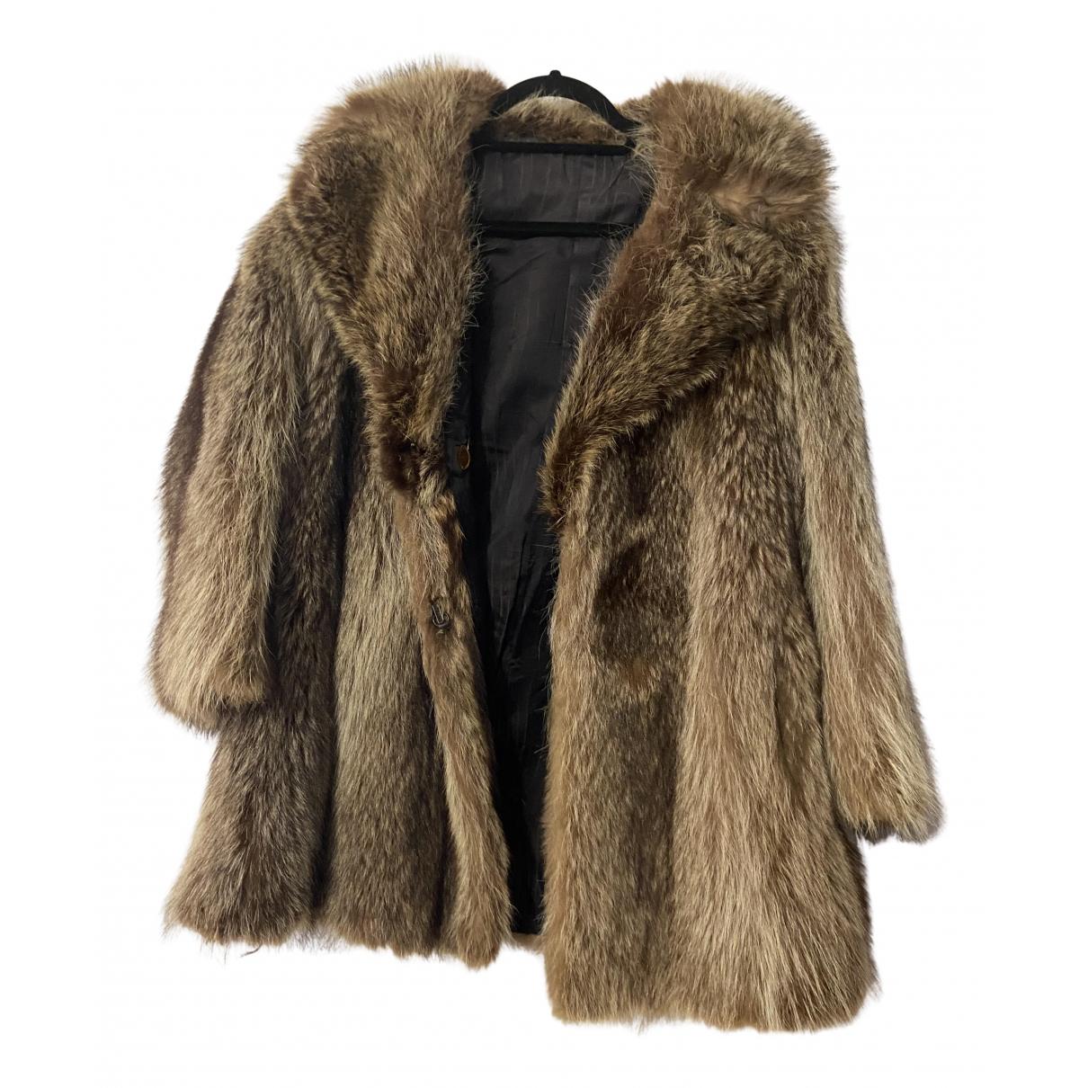 - Manteau   pour femme en renard - marron