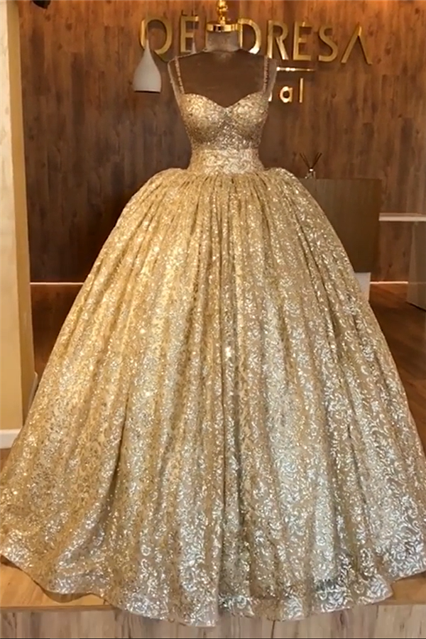 Spaghetti Straps Gold Beaded Lace Evening Dress   Luxury Ball Gown Princess Open Back Prom Dress