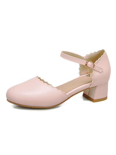 Milanoo Women Sandals Puppy Heel Buckle Chic Slip-On Round Toe Plus Size Ecru White Sandals