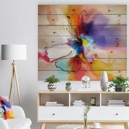 WD7332-46-36 Creative Flower In Multiple Colors - Floral Print On Natural Pine Wood -
