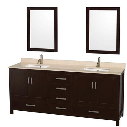 WCS141480DESIVUNSM24 80 in. Double Bathroom Vanity in Espresso  Ivory Marble Countertop  Undermount Square Sinks  and 24 in.