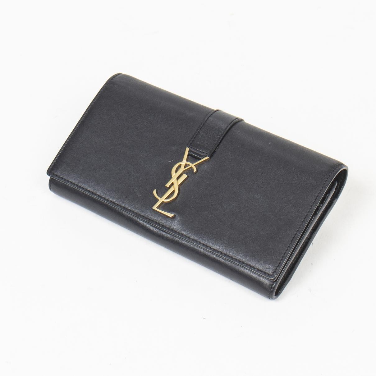 Yves Saint Laurent \N Portemonnaie in  Schwarz Leder