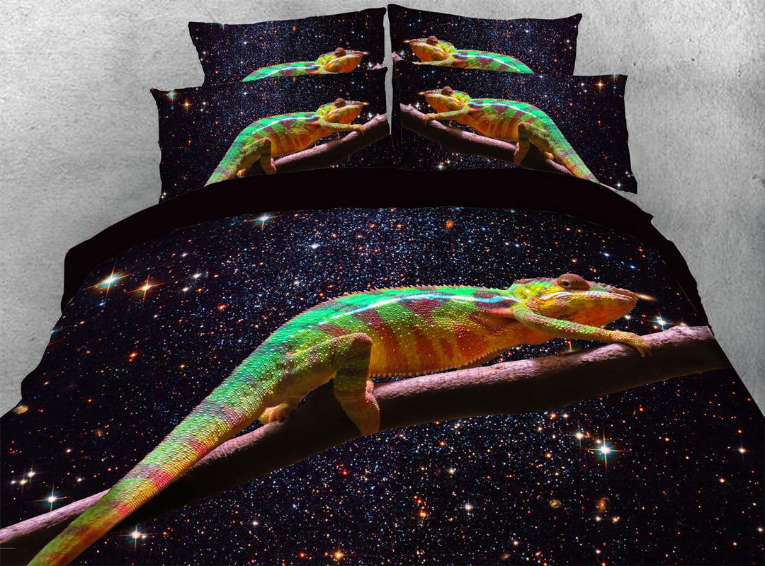 3D Lizard 4-piece No-fading Bedding Sets Durable Animal Print Bedding Zipper Duvet Cover with Non-slip Ties