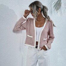Contrast Panel Open Front Tweed Jacket