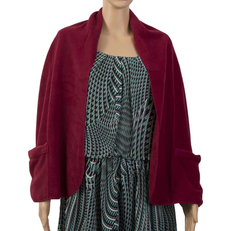 Fleece Pocket Wrap Shawl Keeps Shoulders Warm with Hand Warmer Pockets - One Size - Burgundy