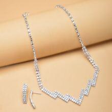 3pcs Rhinestone Decor Jewelry Set
