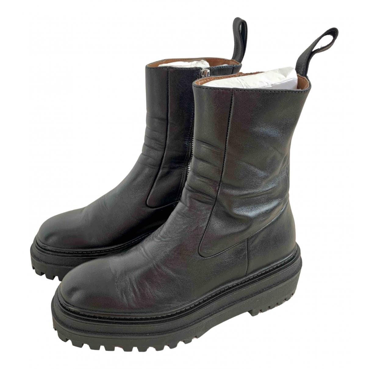 Zara - Boots   pour femme en cuir - noir