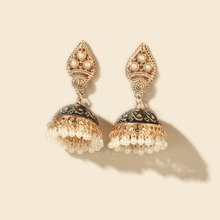 Faux Pearl Decor Drop Jhumka Earrings