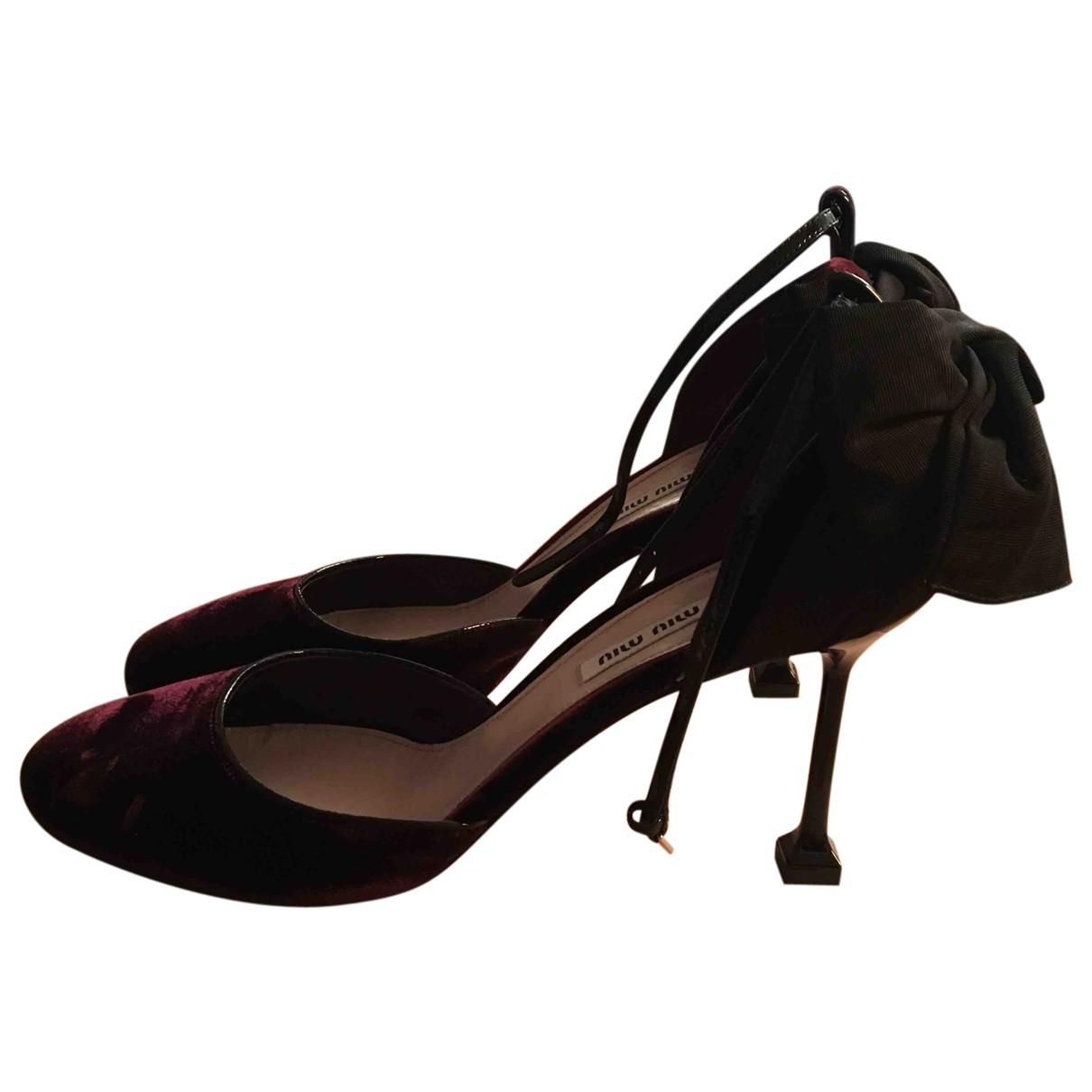 Miu Miu \N Burgundy Velvet Heels for Women 40 EU