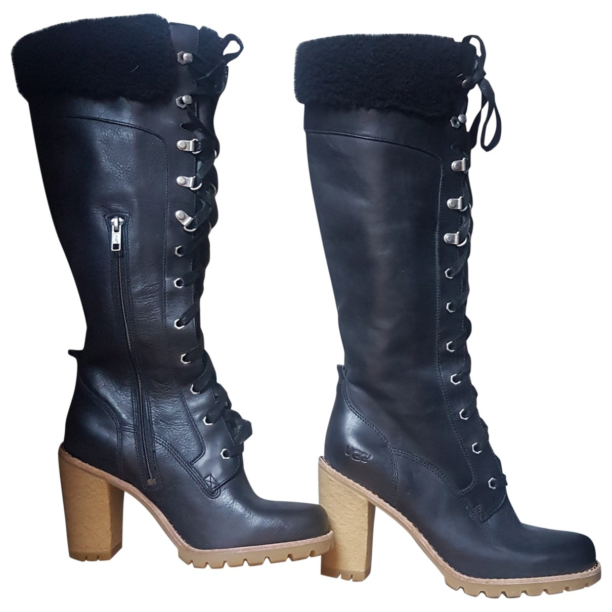 Ugg \N Black Leather Boots for Women 38 EU
