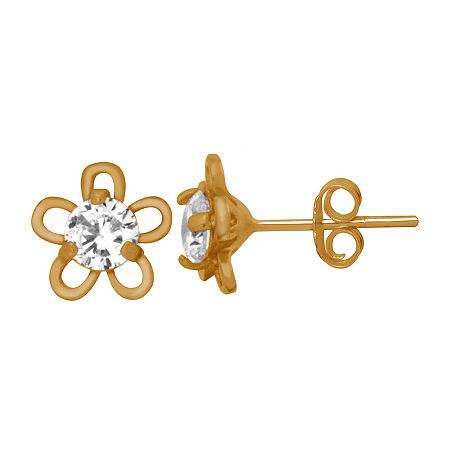 Itsy Bitsy Cubic Zirconia 14K Gold Over Silver 7.5mm Flower Stud Earrings, One Size , No Color Family