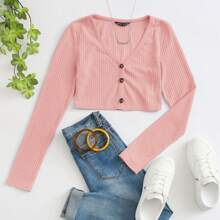 Button Front Rib-knit Crop Tee