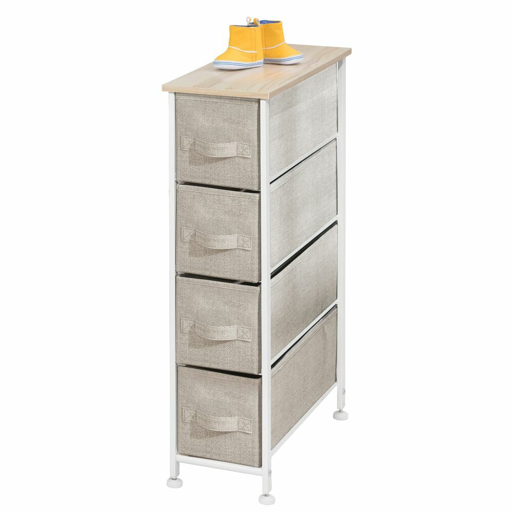 4 Drawer Narrow Vertical Dresser with Fabric Drawers in Cream/White, 19