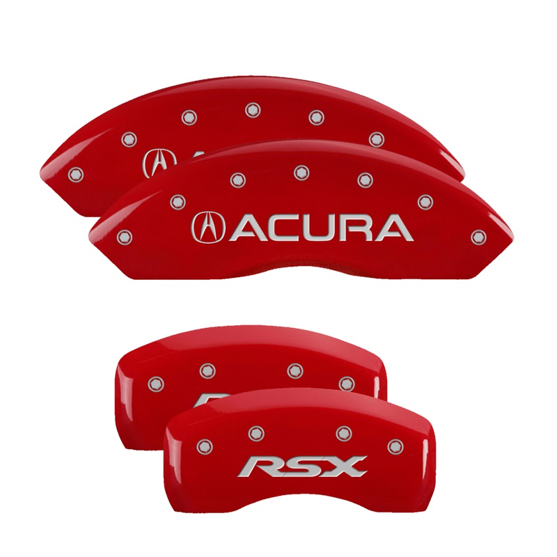 MGP Caliper Covers 39005SRSXRD Set of 4: Red finish, Silver Acura / RSX Acura RSX 2002-2006