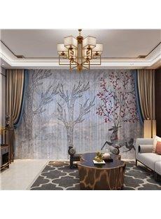 3D Striking and Beautiful Elk Mordern Design in Constrasting Colors 2 Panels Custom Sheer