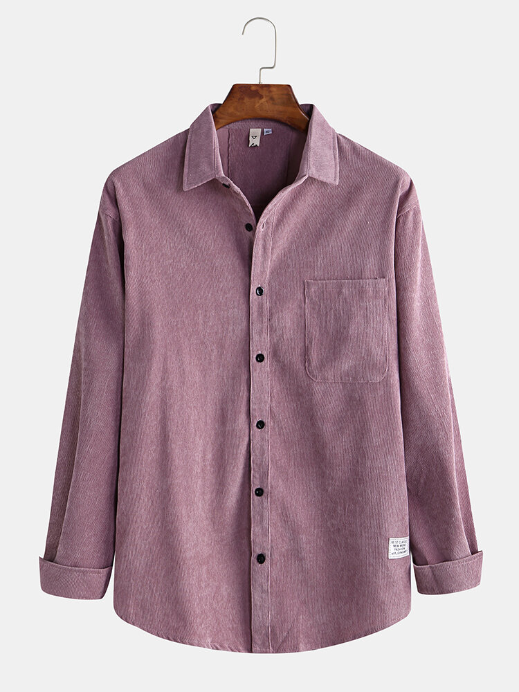 Mens Casual Corduroy Patchwork Pocket Long Sleeve Jackets