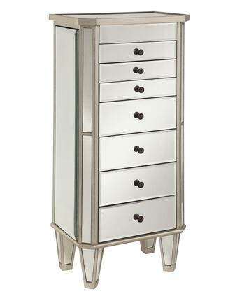 233-314 41 Mirrored Jewelry Armoire with Lift Top and Mirror Inset in Silver and Mirror
