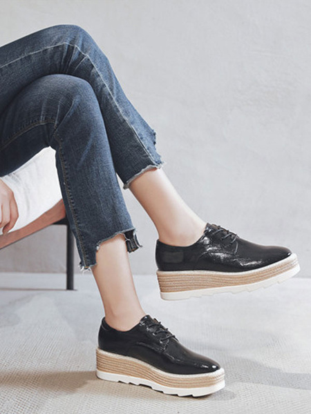 Milanoo Black Flatform Oxfords Women Round Toe Lace Up Casual Shoes