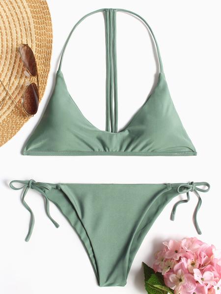 Yoins Green Halter Padded Design Self-tie Bikini Set