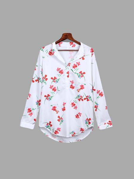 Yoins Random Floral Pattern Chiffon English Collar Shirt