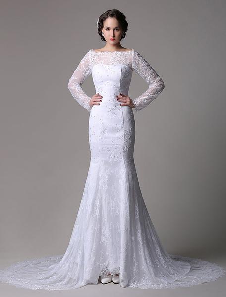 Milanoo Lace Mermaid/Trumpet  Long Sleeves Off-the-shoulder Wedding Dress