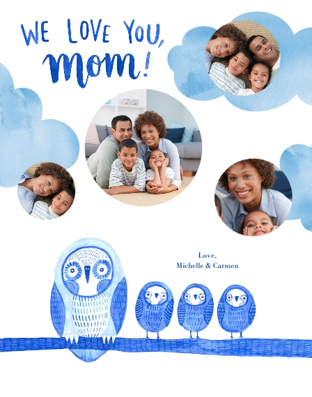 Family + Friends 11x14 Poster, Home Décor -Owl Little Family