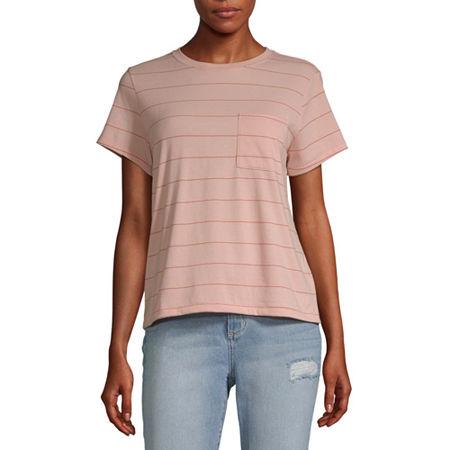 Arizona Juniors-Womens Crew Neck Short Sleeve T-Shirt, Medium , Pink