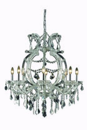 2800D28C/SA 2800 Maria Theresa Collection Hanging Fixture H32.5in D28.5in Lt: 8 Chrome Finish (Swarovski Spectra