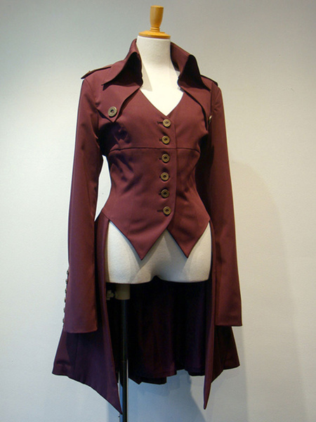 Milanoo Gothic Lolita Coats Dark Red Lace Up Grommets Cotton Blend Overcoat Lolita Outwears
