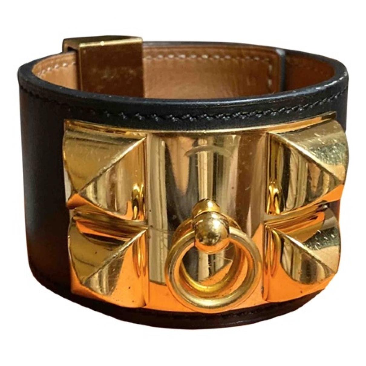 Hermes - Bracelet Collier de chien  pour femme en cuir - noir