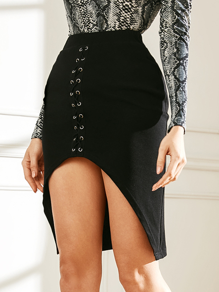 YOINS Black Criss-cross High-Waisted Skirt