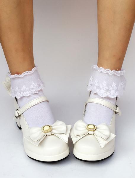 Milanoo White Lolita Shoes Round Toe Chunky Heel Ankle Strap Bow Lolita Pumps