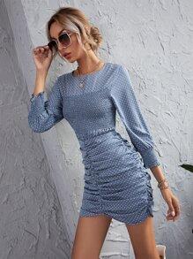 Polka Dot Shirred Ruched Detail Bodycon Dress