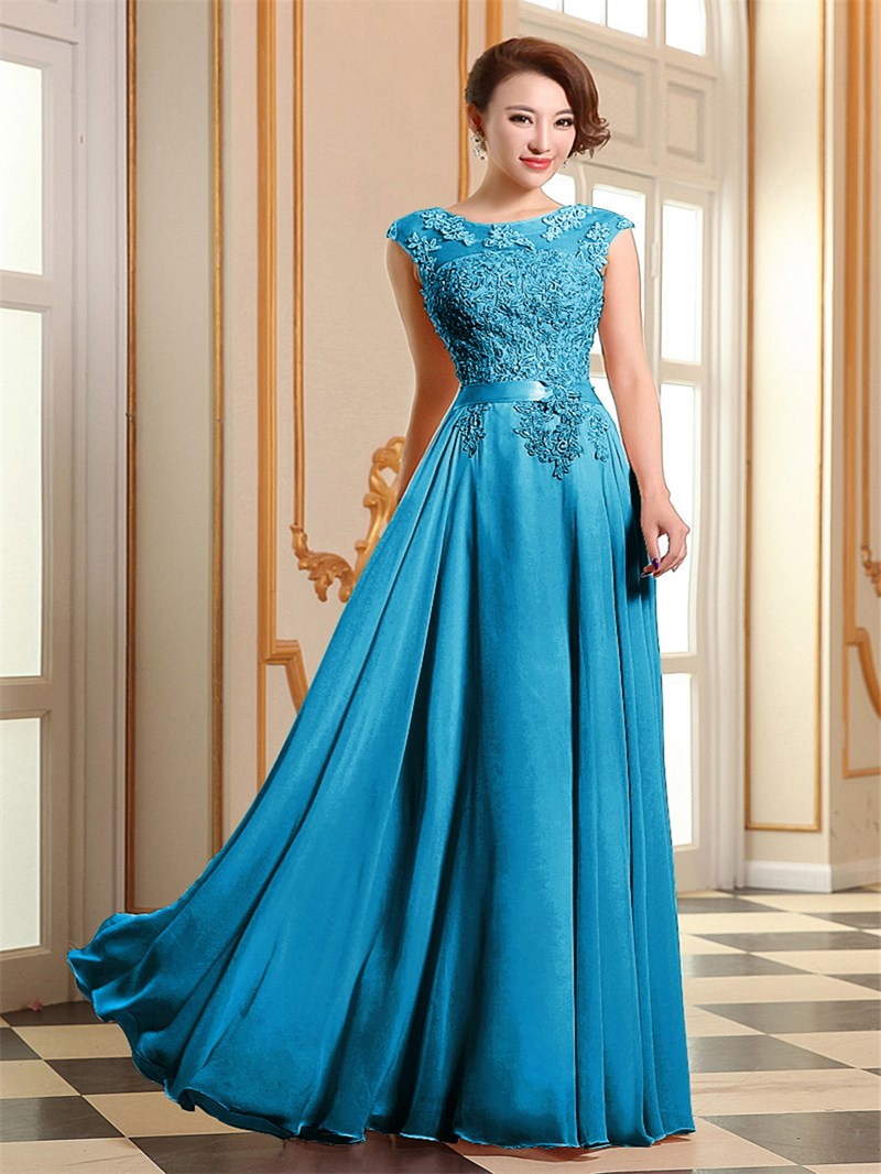 Eye-catching Appliques Lace-up Long Prom Dress