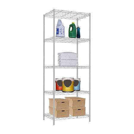 Home Basics 5 Tier Steel Wire Shelf, One Size , White
