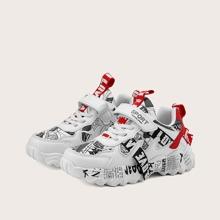 Girls Letter Tape Decor Chunky Sneakers