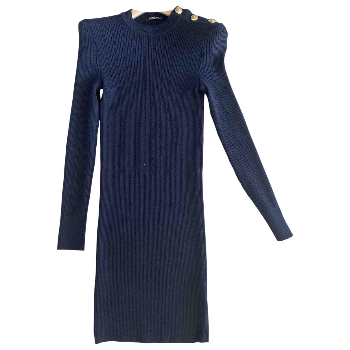 Balmain \N Blue Wool dress for Women 40 FR
