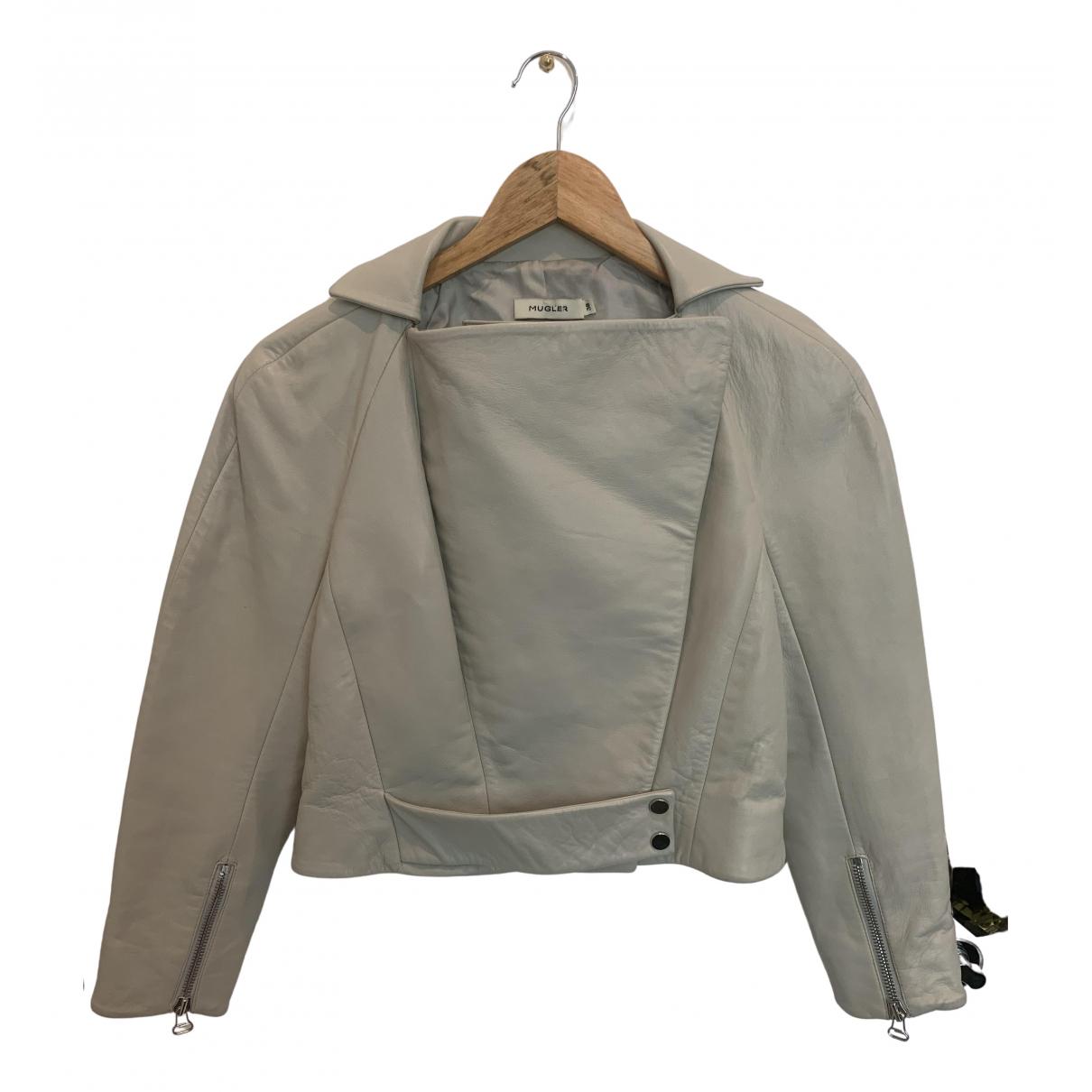 Mugler N White Leather Leather jacket for Women 38 FR
