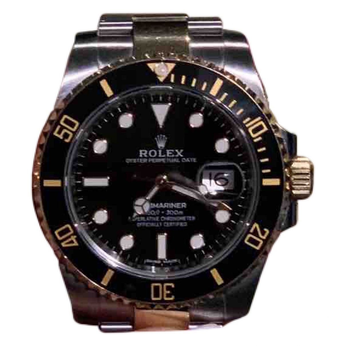 Rolex - Montre Submariner pour homme en or et acier - noir