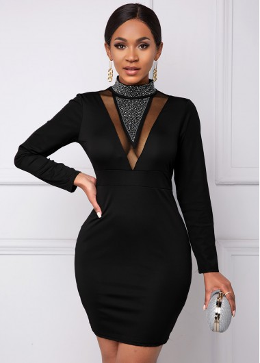 Black Dresses Zip Back Hot Drilling Mesh Stitching Dress - L