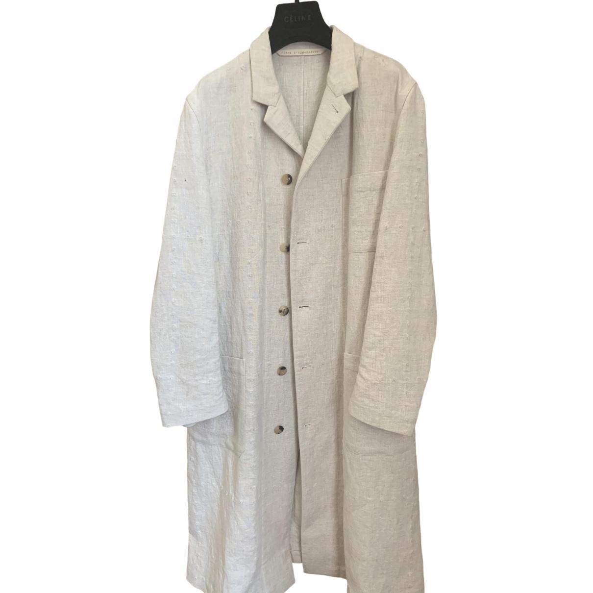 Forme Dexpression - Manteau   pour femme en lin - beige