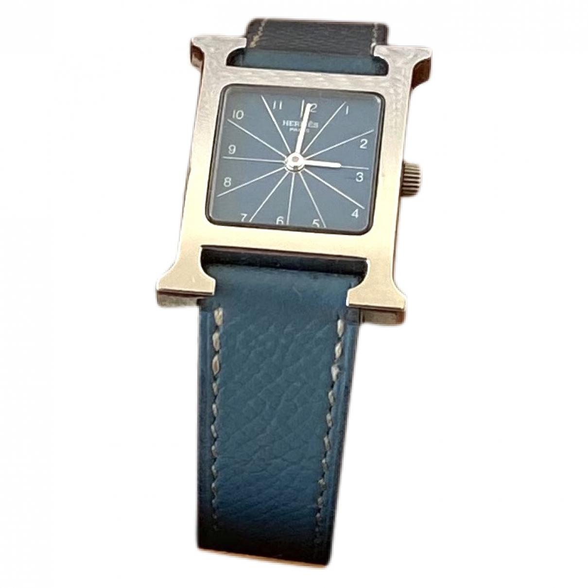 Hermes Heure H Uhr in  Blau Stahl