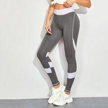 Leggings mit Kontrast Einsatz und breitem Taillenband