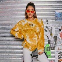 Pullover mit Schmetterling Stickereien und Batik