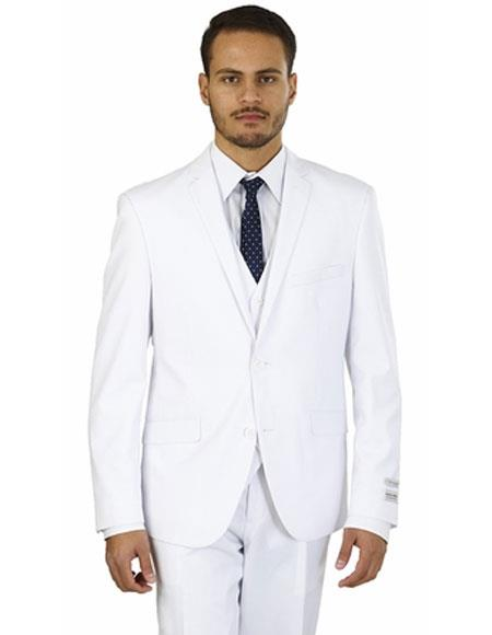 Mens Lorenzo Bruno Single Breasted 2 Buttons White Double Vents Suit