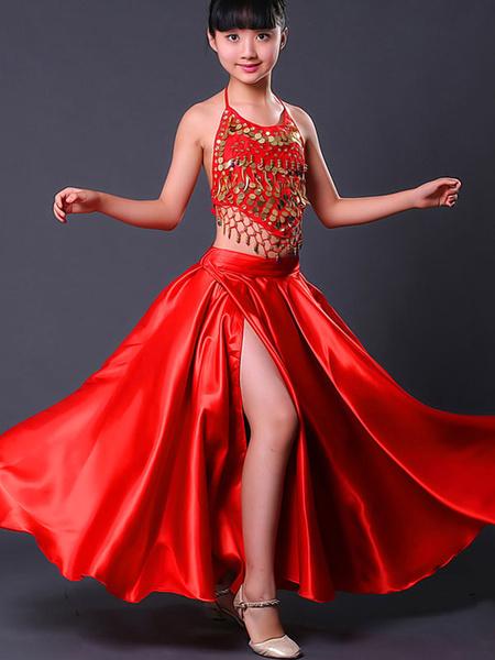 Milanoo Kids Belly Dance Costumes Red Split Flamenco Dress Paso Doble Costumes Spanish Skirt for Girls Halloween