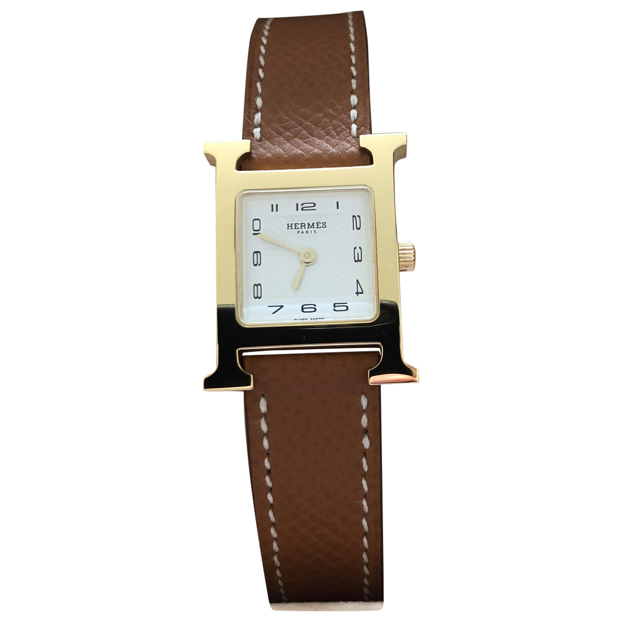 Hermes Heure H Uhr in  Kamel Vergoldet
