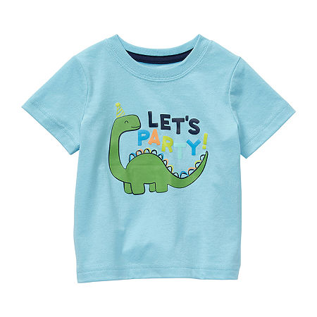 Okie Dokie Baby Boys Crew Neck Short Sleeve Graphic T-Shirt, 18 Months , Blue